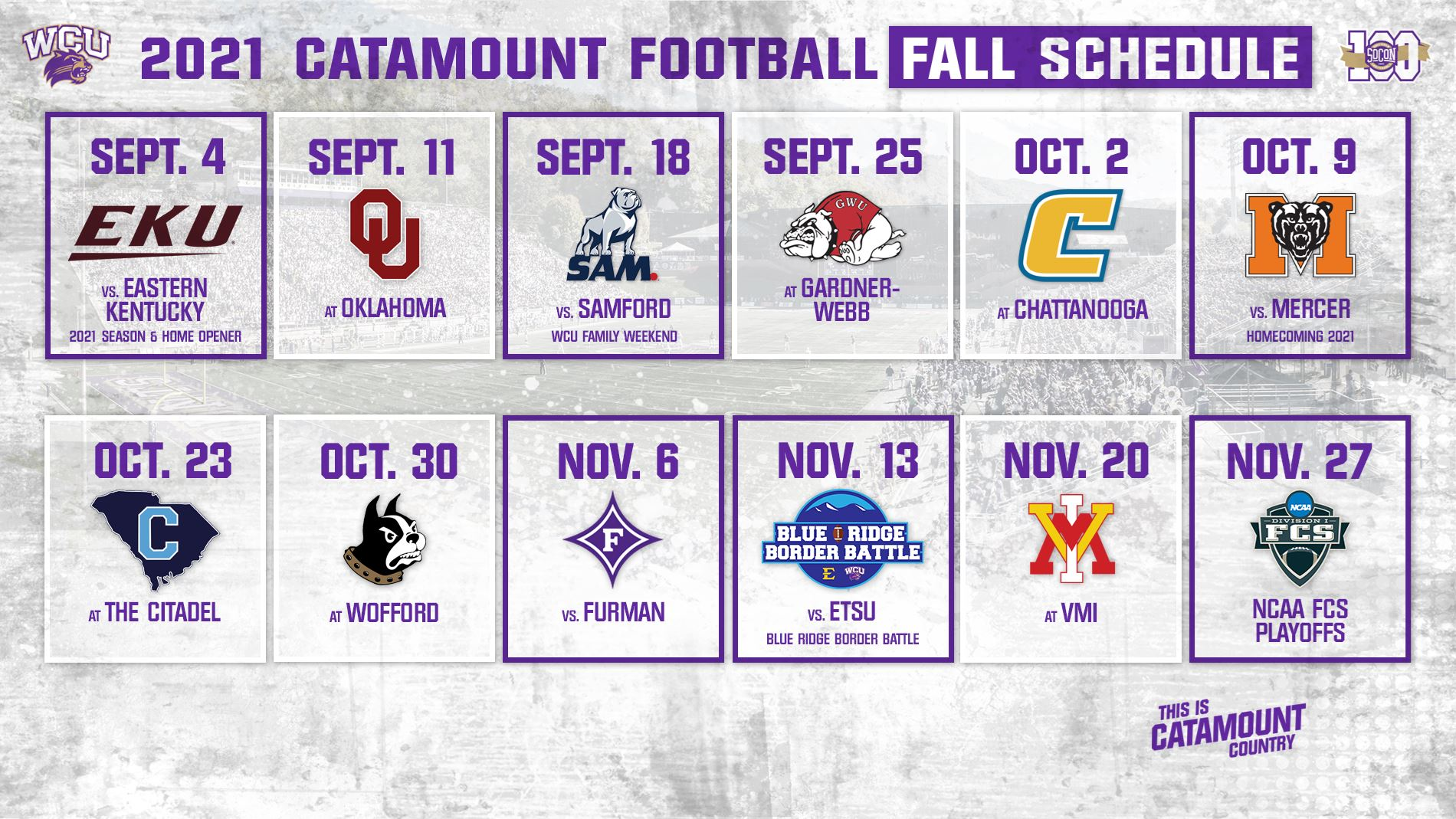 2021 WCU Fall Football Schedule